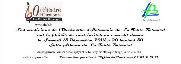 Invitation Concert 13 Décembre 2014